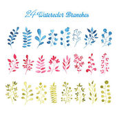 24 Watercolor Branches — Stock Photo