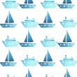 Seamless vector watercolor pattern with ships, boats on white — Stock Photo #69931883