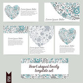Heart shaped lovely template vector set — Stock Vector