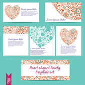 Heart shaped lovely template vector set — Cтоковый вектор