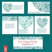 Heart shaped lovely template vector set — Stock Vector