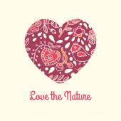 Love the nature. Patterned decorative heart vector. — Stock Vector