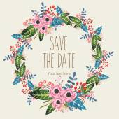 Vector watercolor decorative wreath invitation — Stock Vector