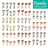 Family set Pose with motion — 图库矢量图片