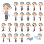 Purple clothes grandmother — Stock Vector