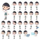 Schoolgirl White shortsleeved shirt — Stock Vector