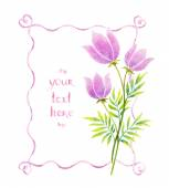 Watercolor flowers and ribbons — Stock Photo