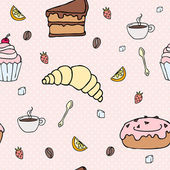 Delicious breakfast or dessert repeated pattern — Stockvector