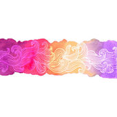 Colorful watercolor background with doodle waves — Wektor stockowy