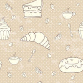 Breakfast or dessert repeated pattern — Stockvector