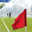 Red flag in corner of soccer field in summer day. — Stock Photo #76917515