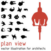 Plan view silhouettes for architectural designs. Vector illustration — Stock Vector