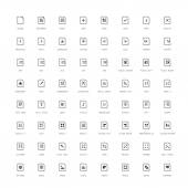 64 Icons - Simple Documents Black Edition — Stock Vector