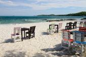 Tables on a beach — Stock Photo