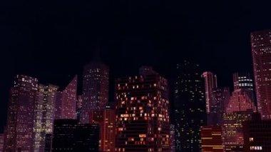 Camera rotates around night city. Loop ready animation. — Stock Video