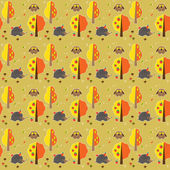Seamless pattern with hedgehogs, owls, mushrooms, apples and trees — Stock Vector