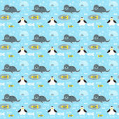 Seamless pattern with penguins, seals, fishes and snowflakes — Stock Vector