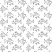 Black and white pattern with fishes — Stock Vector