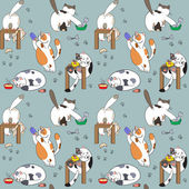 Pattern with cats and food — Stock Vector
