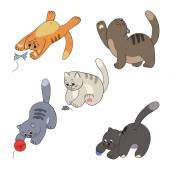 Cats and their toys collection — Stock Vector