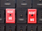 Close-up of postboxes for rent — Stock Photo