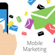 Mobile Marketing - Smart Phone Sending Emails — Vector de stock  #67627617