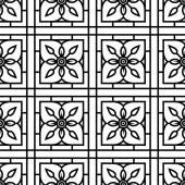 Conception sans couture motif floral noir et blanc dans la grille. — Vecteur