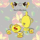 Tea set with samovar — Stock Vector