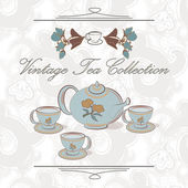 Tea set in vintage style — Stock Vector