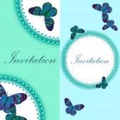 Vintage uitnodigingskaart met blauwe vlinder — Stockvector