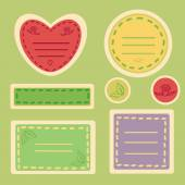 Cute Sticker Set in Spring Colors — Vettoriale Stock