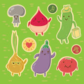 Happy Vegetables Sticker Set — Stock Vector