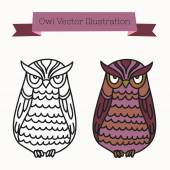 Cute hand-drawn vector owl illustration. Outline and colored. — Stock Vector