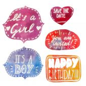 Birthday phrases watercolor background lettering vector set — Stock Vector