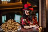 Sexy steampunk woman in a vintage bar — 图库照片