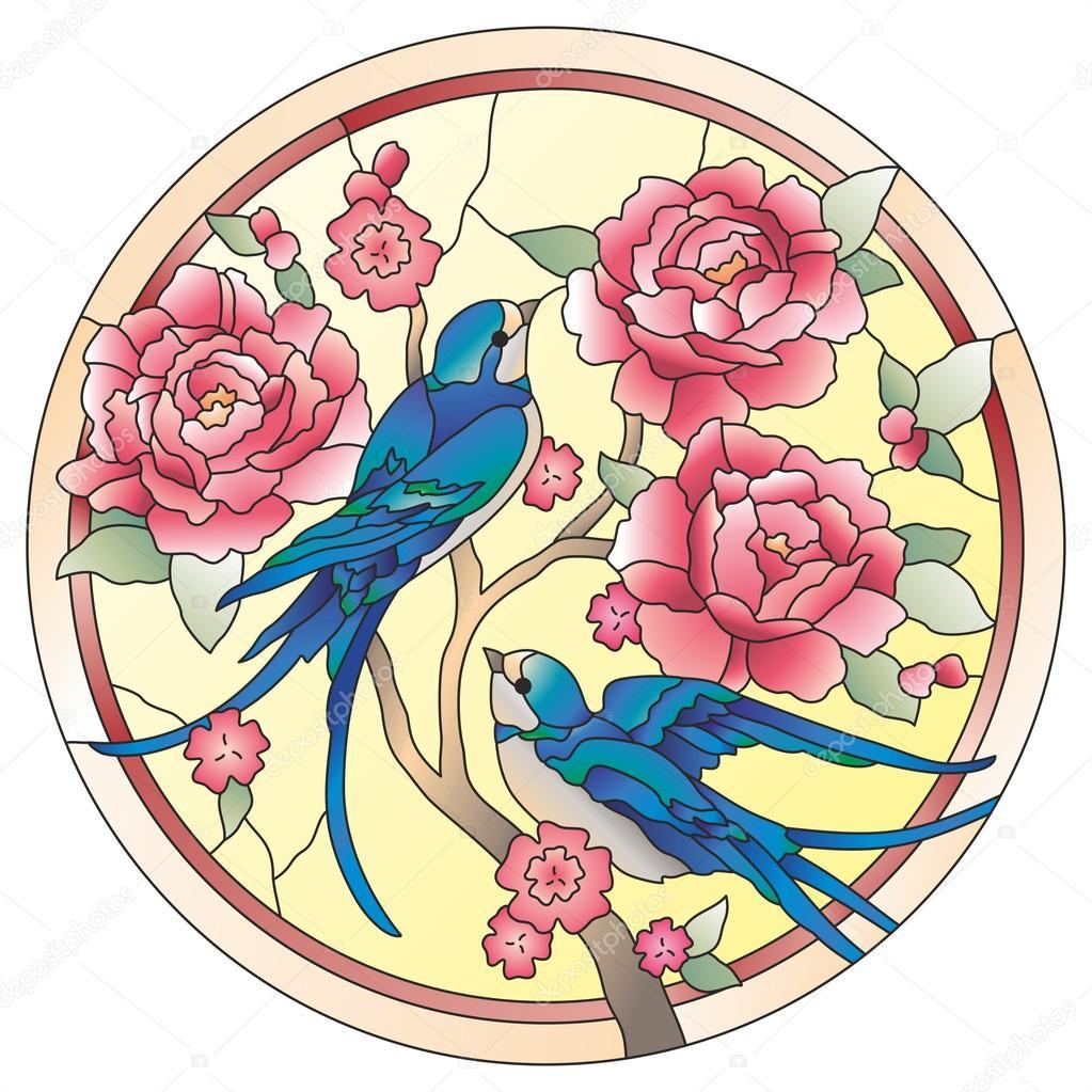 stained glass windows birds