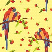 Red parrots pattern — Stok Vektör