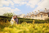 Bride and groom on a blue sky in Paris, France — Stock Photo