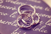 Beautiful engagement and wedding rings — Stock Photo