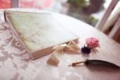 Beautiful feather pen on table — Stock Photo