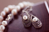 Pear earrings and necklace — Stock Photo