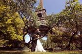 Bruid en bruidegom zittend op een boom in de buurt van Eiffel Tower — Stockfoto
