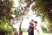 Lovely bride and groom in the park — Stock Photo