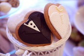 Bride and groom shaped cookie — Stock Photo