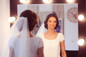 Bride to be in the mirror — Stock Photo