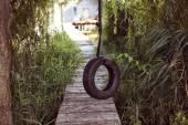 Tire swing near house on lake — Stock Photo