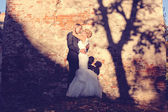 Bride and groom embracing near bricked wall — Stock Photo
