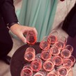 Guests serving drink at wedding — Stock Photo #74723435