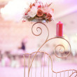 Candle and flower stand on wedding table — Stock Photo #74732643
