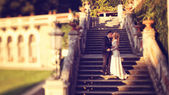 Bride and groom on stairs — Foto de Stock